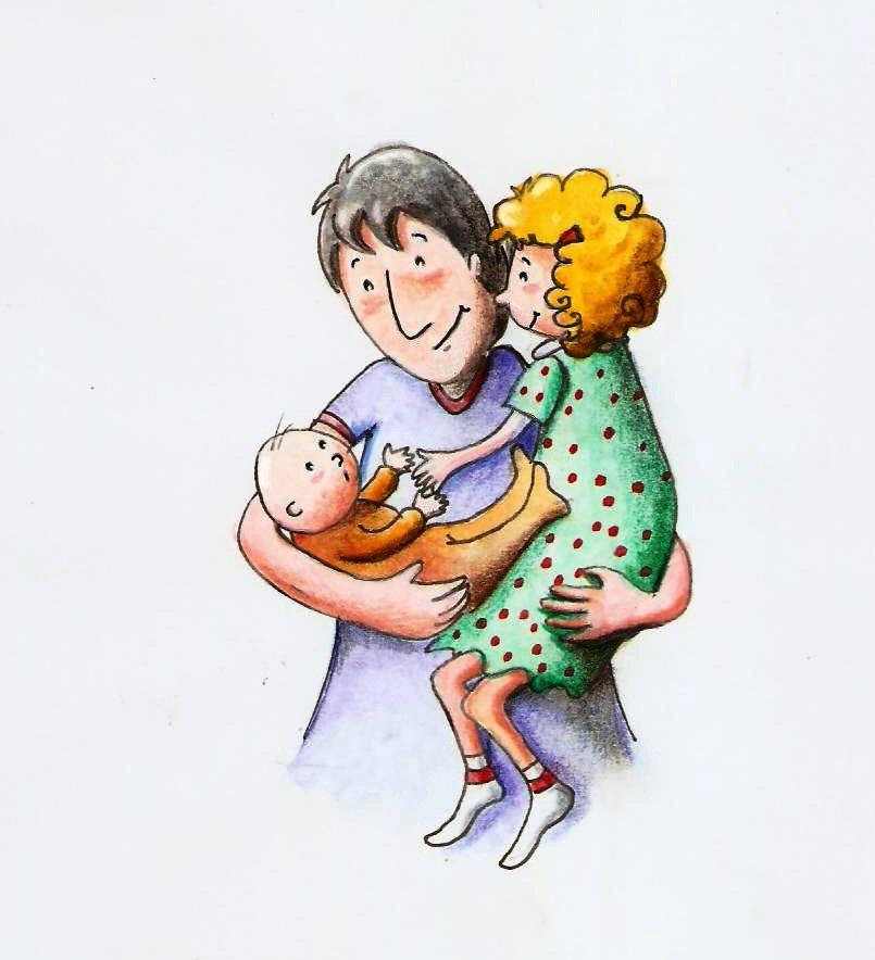 Padre con bambini Claudia Fachinetti