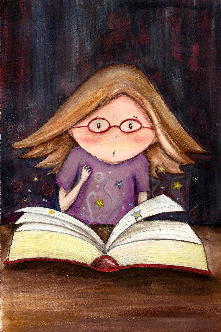 Bimba con libro incantesimi Claudia Fachinetti